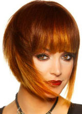 Red with Copper combination Short Hairstyle