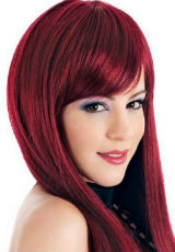Straight Red Hairstyle with Bang