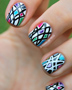 Black & White Geometric Nails with Pops of Color!